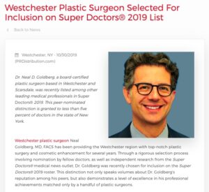 Plastic Surgeon in Westchester Included in Super Doctors 2019 List